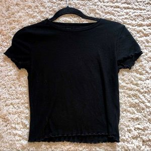 Scalloped Black Cropped Tee (Forever 21)